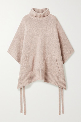 Sies Marjan Marta Melange Cashmere And Wool-blend Turtleneck Poncho - Blush