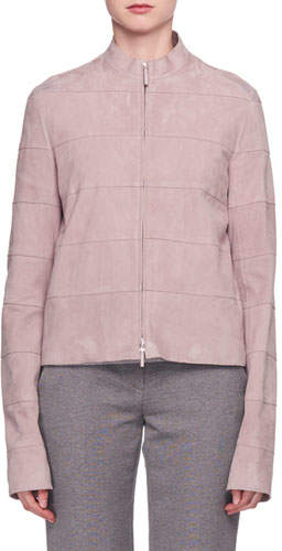 The Row Sonra Paneled Zip-Front Suede Jacket