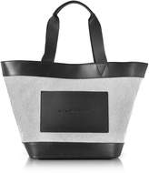 Alexander Wang Black and White Canvas Tote Bag w/Leather Pocket