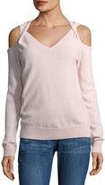 Neiman Marcus Cashmere Cold-Shoulder Twist Sweater, Pink