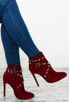 Pink Boutique Booty Camp Burgundy Faux Suede Studded Ankle Boots