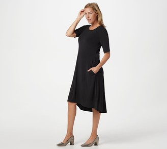 Susan Graver Liquid Knit Elbow-Sleeve Dress with Pockets