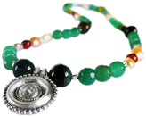 Chen Fuchs Jewelry Green Mix Beaded Pendant Necklace