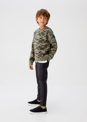 MANGO Camouflage print knit sweater khaki - 5 - Kids