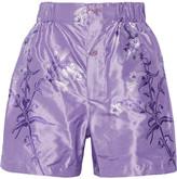 Miu Miu Floral-print Silk-jacquard Shorts - Lavender