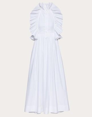 Valentino Technical Poplin Dress Women White Cotton 75%, Elastane 25% 36