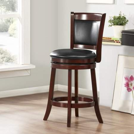 Magnificent Weston Home 24 Swivel Cushion Back Counter Stool With Faux Leather Cushion Cherry Inzonedesignstudio Interior Chair Design Inzonedesignstudiocom