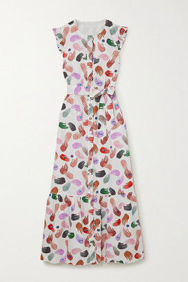 Borgo de Nor Gabrielle Ruffled Belted Printed Cotton-poplin Maxi Dress - White