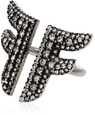 Fendi Flying F crystal-embellished logo ring