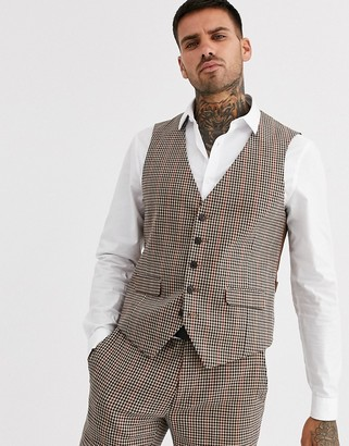 Burton Menswear skinny fit suit waistcoat in house check