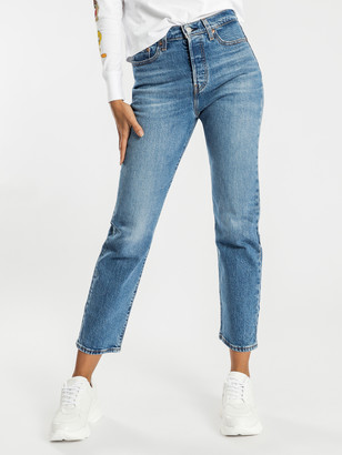 Levi's Wedgie Straight-Leg Jeans in Jive Sound Blue Denim