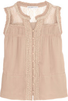 Chelsea Flower Embellished Chiffon And Lace Top
