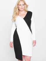 ELOQUII Plus Size Colorblock Asymmetrical Dress