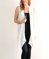 White Waffle-Knit Open Sidetail Vest