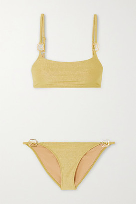 Rixo Elise Embellished Stretch-lurex Bikini - Gold