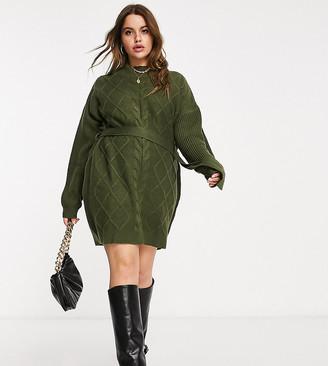AX Paris Plus cable knit sweater dress in khaki
