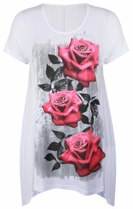 Purple Hanger New Womens Plus Size Uneven Hanky Hem Short Sleeve T-Shirt Top Ladies Floral Rose Print Jersey Tunic White Size 16