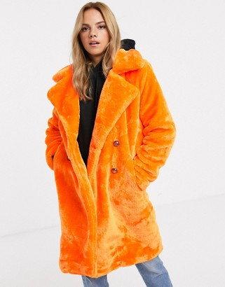 Qed London QED London faux fur midi coat with double button detail in neon orange