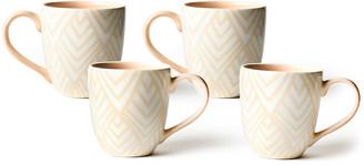 N. Layered Diamond Mugs, Set of 4