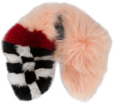Mr & Mrs Italy - checked detail scarf - women - Fox Fur/Polyester/Racoon Fur - One Size