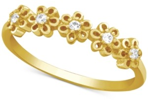 Essentials Cubic Zirconia Flower Ring in Gold-Plate