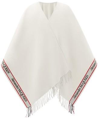 Alexander McQueen Logo-jacquard Fringed Wool-blend Cape - White Multi