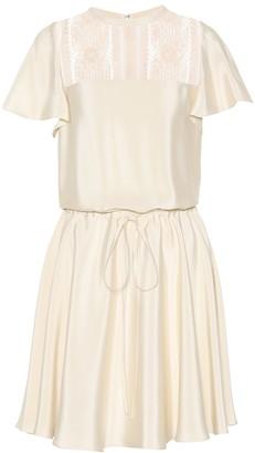 Valentino lace-panelled silk dress