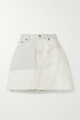 Acne Studios + Net Sustain Frayed Patchwork Organic Denim Mini Skirt - Light gray