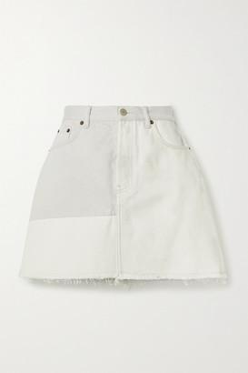 Acne Studios + Net Sustain Frayed Patchwork Organic Denim Mini Skirt
