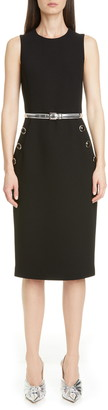 Michael Kors Belted Button Detail Stretch Wool Sheath Dress