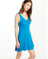 Express ribbed double keyhole fit and flare dress