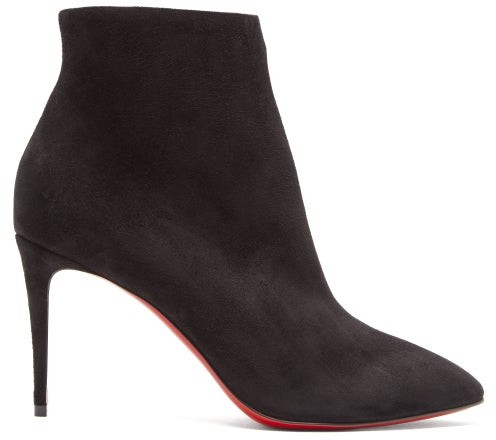 Christian Louboutin Eloise 85 Suede Ankle Boots - Womens - Black
