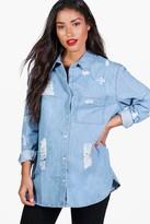 boohoo Maternity Isla Ultra Distressed Oversized Denim Shirt blue