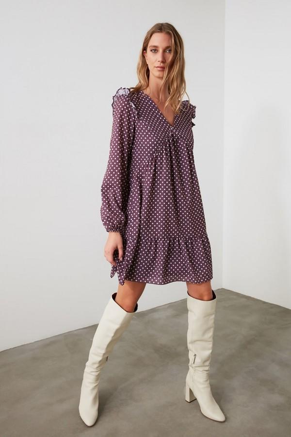 Trendyol Purple V-Neck Printed Smock Dress