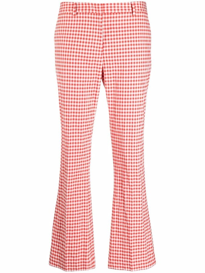 Thumbnail for your product : Pt01 Gingham Check-Print Flared Trousers