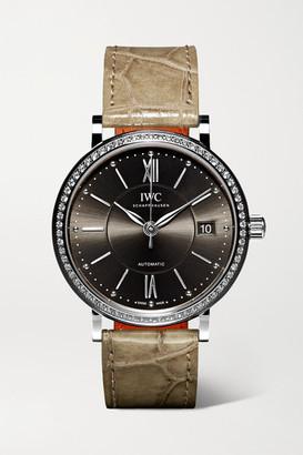 IWC Schaffhausen SCHAFFHAUSEN - Portofino Automatic 37mm Stainless Steel, Alligator And Diamond Watch - Silver