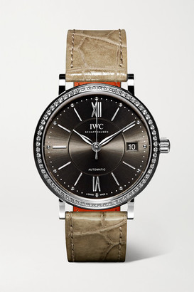 IWC SCHAFFHAUSEN - Portofino Automatic 37mm Stainless Steel, Alligator And Diamond Watch - Silver