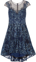 Marchesa Asymmetric Embroidered Tulle Mini Dress - Navy