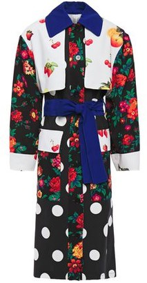 MSGM Ottoman And Crepe-paneled Printed Cotton-gabardine Trench Coat