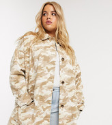 Asos DESIGN Curve washed oversized jacket in camo