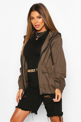 boohoo Hooded Twill Zip Through Windbreaker