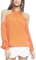 Arden B Chain Halter Cold-Shoulder Blouse