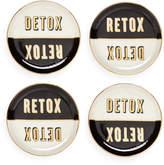 Jonathan Adler Master Cleanse Coasters - Set of 4 - Black/White/Gold