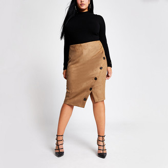 River Island Plus brown suede button front pencil skirt