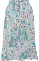 Matthew Williamson Pampas Peacock Printed Silk Crepe De Chine Midi Skirt - Blue