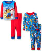 Nickelodeon Little Boys' Toddler Paw Patrol 4-Piece Cotton Pajama Set, Red/Blue