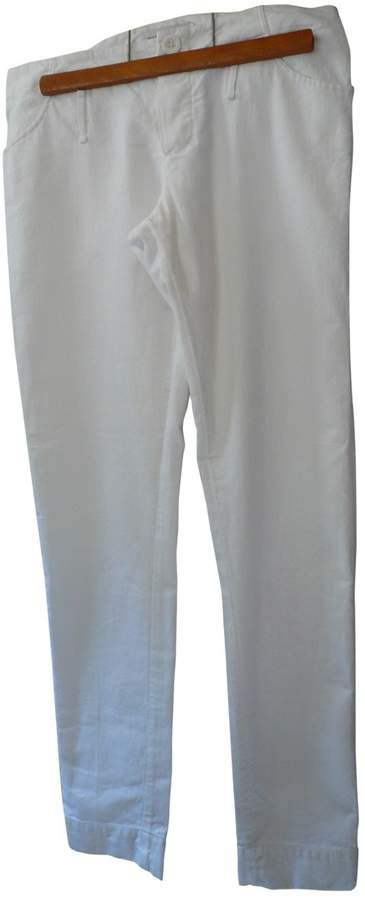 Madame à Paris White Cotton Trousers for Women