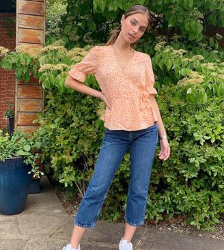 Vero Moda Petite wrap blouse with puff sleeve in orange ditsy