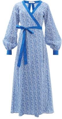 The Upside Kate Floral-print Cotton Wrap Dress - Womens - Blue White