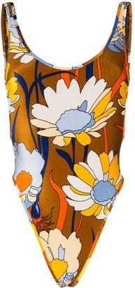 Fendi Daisy-print chenille swimsuit